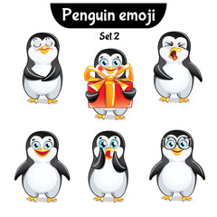 Vector set of cute penguin characters. Set 2