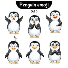 Vector set of cute penguin characters. Set 5
