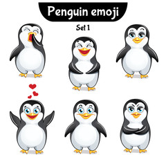Vector set of cute penguin characters. Set 1