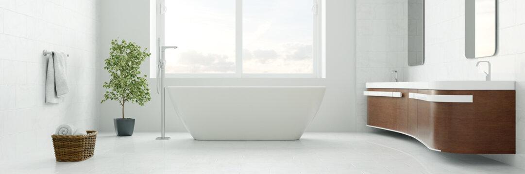 Badezimmer Panorama mit Badewanne