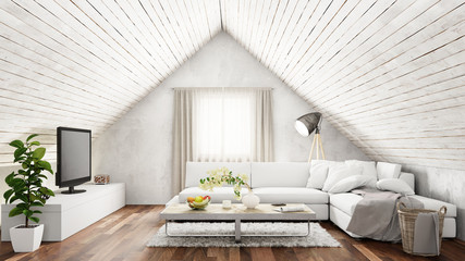 Helles Wohnzimmer mit Sofa im Dachgeschoss