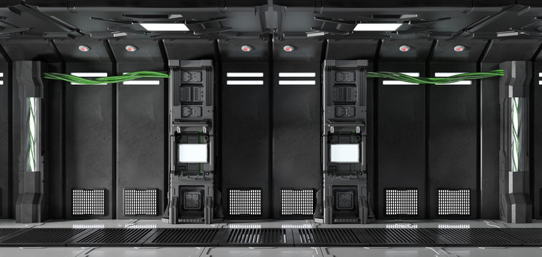 Monitore an Wand im Sci-Fi Raumschiff