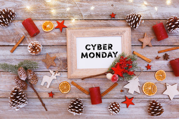 Cyber Monday text in frame on christmas flat lay