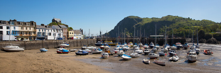 Wall Mural - Ilfracombe Devon UK with boats in the harbour on beautiful spring day panoramic view
