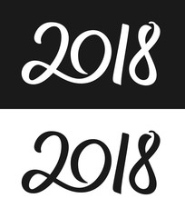 Happy New Year 2018 greeting card template. Calligraphic number 2018 with smooth contour on black and white backgrounds for Chinese Year of the Dog. Vector illustration.