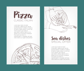 Set of flyer templates with contour drawings of classical pizza and grilled salmon steak on plates and place for text. Hand drawn vector illustration for pizzeria or seafood restaurant advertisement.
