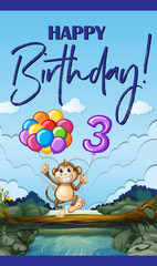 Happy birthday card for three year old