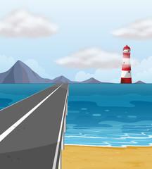 Empty road through the ocean