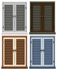 Four window frames in different colors