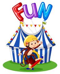 Monkey with balloon for word fun