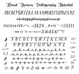 Script font alphabet written with a brush.