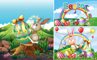 Bunny and eggs for easter holiday