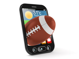 Rugby ball inside smart phone