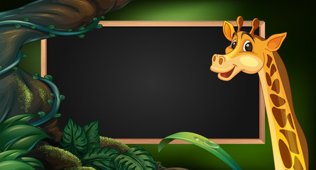 Frame template with wild giraffe
