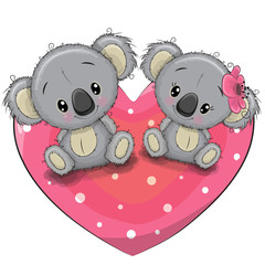 Two Cute Koalas on a heart