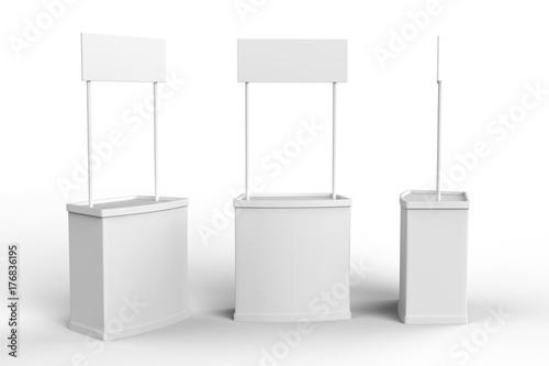 White blank advertising POS POI PVC Promotion counter booth, Retail