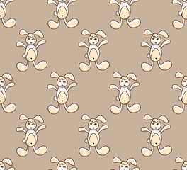 White Rabbit on Brown Background