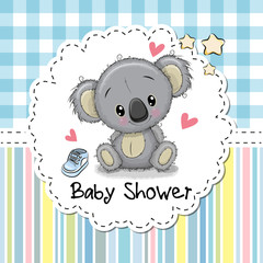 Baby Shower Greeting Card with Cartoon Koala