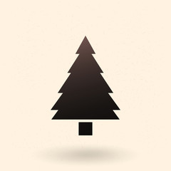 Vector Black Silhouette Icon - Pine Tree
