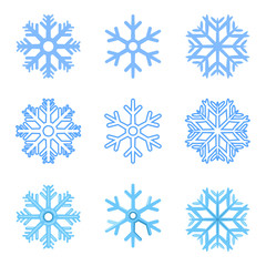 Vector Set of Blue Snowflakes Icons