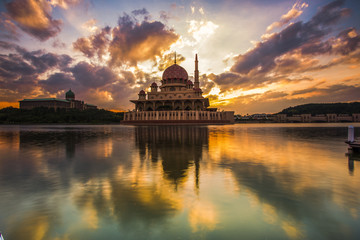 scenery of sunset at Public mosque,Putrajaya,Malaysia. Soft focus,motion blur due to long exposure. visible noise due to high iso