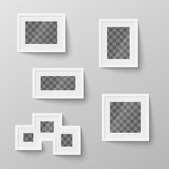 Set of white blank picture frames with transparent place for photo