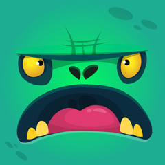 Cartoon zombie face. Vector zombie monster square avatar