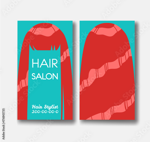 Hair salon business card templates with red hair on green backgr hair salon business card templates with red hair on green backgr wajeb Images