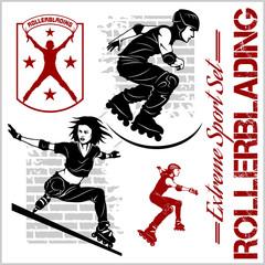 rollerblading - emblem Illustration roller on light background