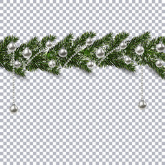 Christmas ornament from the green branches of a fir tree with a shadow and snowflakes. silver balls and beads on the background checkers. illustration