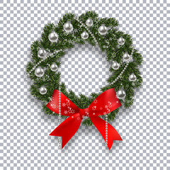 A green branch of spruce in the form of a Christmas wreath with shadow and snowflakes. Red bow, silver balls and beads on the background checkers. illustration