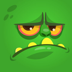 Cartoon laughing funny zombie face. Vector zombie monster square avatar