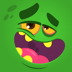 Cartoon laughing funny zombie face with one eye. Vector zombie monster square avatar