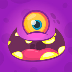 Cartoon cute monster face avatar with one eye. Vector illustration