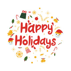 Happy holidays vector background. Brochure template, poster, greeting card