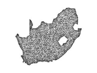 Karte von Südafrika auf Mohn