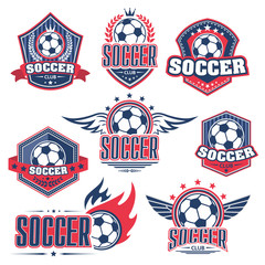 Soccer club, football sport game badge with ball