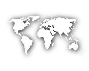 Karte der Welt mit Schatten