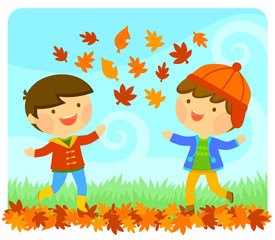 Cute kids playing with autumn leaves