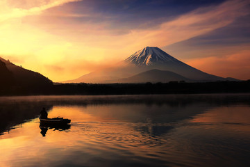 Silhouette fishing boat  and Mt. Fuji at Shoji lake