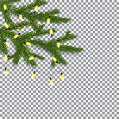 Symbol of the New Year and Christmas. two green lush branches spruce against the background of the checkers. Decorated with garlands. illustration