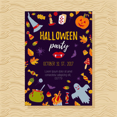 Halloween doodles party invitation