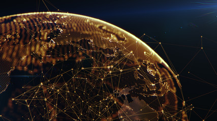 Connection lines Around Earth Globe, Futuristic Technology Theme Background with Light Effect, 3D illustration. Glowing Yellow dots.