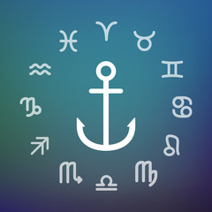 Horoscope circle with an anchor