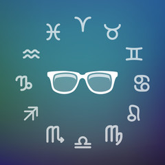 Horoscope circle with a glasses