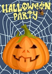 poster advertising for Halloween holiday funny evil pumpkin