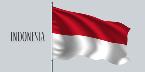 Indonesia waving flag on flagpole vector illustration