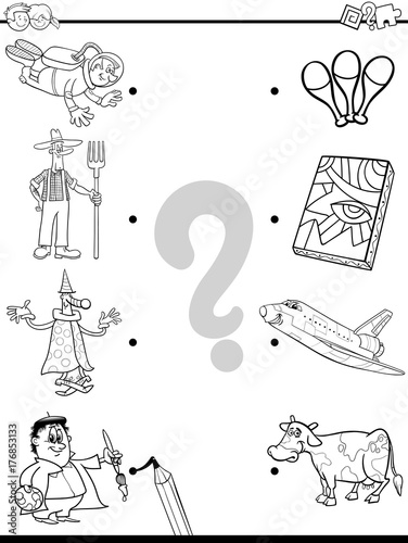 Match People And Objects Coloring Book Stock Image And Royalty Free