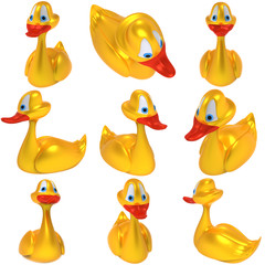 Set of yellow toy ducks isolated on white background.