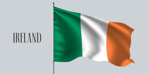 Ireland waving flag on flagpole vector illustration